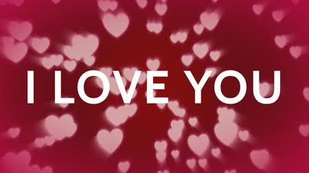 anlamı : Digital composite of I love you against red background with white hearts falling down
