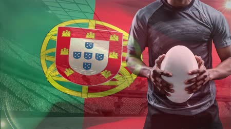 честь : Digital composite of Portuguese rugby player holding a rugby ball against Portugal flag