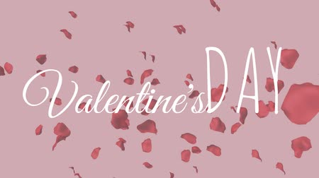 anlamı : Digital composite of valentines day text against background with rose petals Stok Video