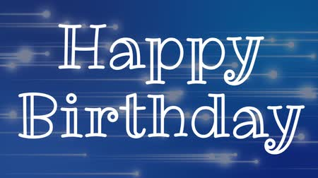 üdvözlettel : Digital composite of happy birthday text against blue background with moving lights Stock mozgókép