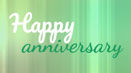 saying : Digitally animated happy anniversary text on green background