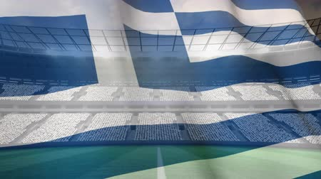 undulating : Greek flag blowing in the wind against football stadium background Stock Footage