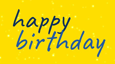 cytat : blue happy birthday text with white dots passing by on yellow background