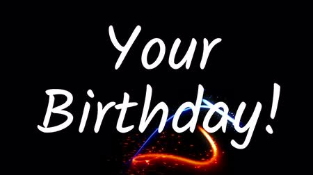 cytat : your birthday text with glowing blue and red lights against black background