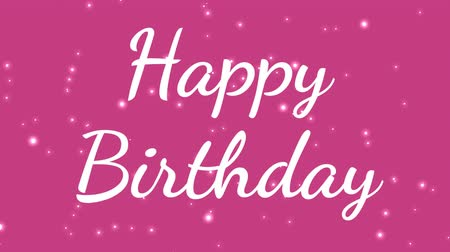 cytat : girly white happy birthday text with pink background and dots passing by