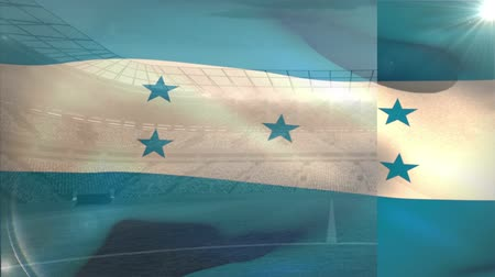 kırpma : Flag of Honduras floating in a blue and sunny sky