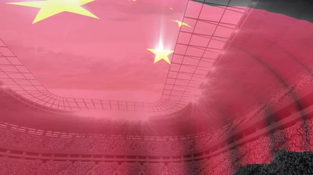 kırpma : Flag of China floating on a full stadium