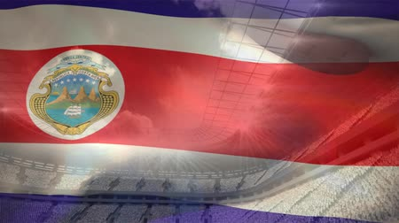 kırpma : Flag of Costa Rica waving on a cloudy sky background Stok Video