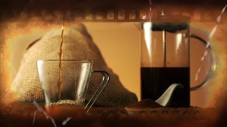 coffee grounds : Old brown film tape on a background of ground coffee. a bag of coffee beans, a coffee maker and coffee pouring into a glass cup