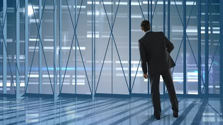 move well : Animation of rear view of businessman looking outside in empty office with bright lights and letters in the background