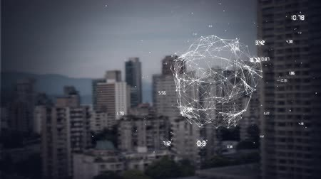 conectado : Side view of digital composite of animation of turning globe against big city in the background