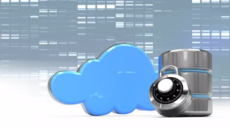 trancado : Digital composite of symbols of cloud security against a moving grey background