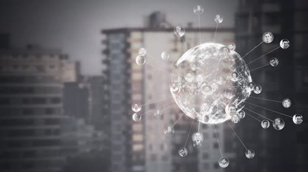 igual : Digitally generated animation of turning globe representing social links between people according to pictures of worldwide people.These pictures are connected by a link according to their country