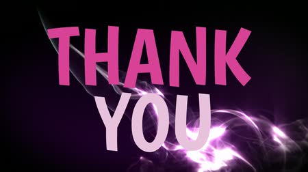 kartpostal : Front view of digital composite of pink thank you text animation with black background Stok Video