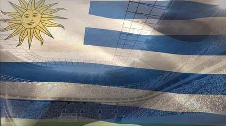 ensign : Front view of Argentina flag floating in the sky against stadium background