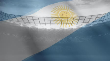 ensign : Argentina flag floating in the wind against stadium background Stock Footage