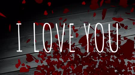 eu : Front view of digital composite of I LOVE YOU animation with red heart drop backdrop