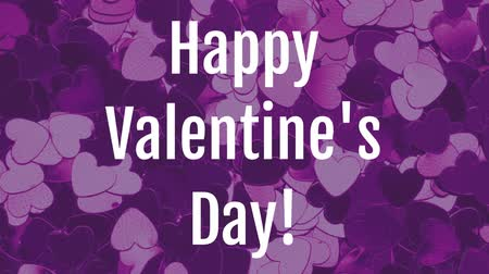 fondness : Front view of Valentines day animation with dynamic heart purple background