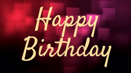 słowa : Animation of text where it is written happy birthday in yellow in red and pink background