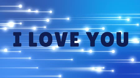 i love you : Slogan I love you on a blue background with white shooting stars