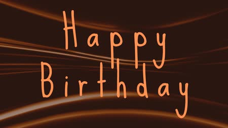 ondulações : Slogan Happy Birthday on a brown and orange undulating background Stock Footage