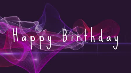 лозунг : Slogan Happy Birthday on a purple scanning background Стоковые видеозаписи