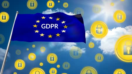лозунг : European flag with GDPR slogan on a sunny sky background with tons of gold padlock icons