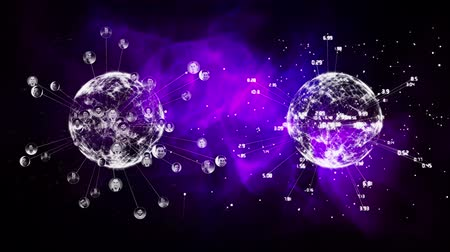 第2 : Two digital earths with each differents data on a purple background 動画素材