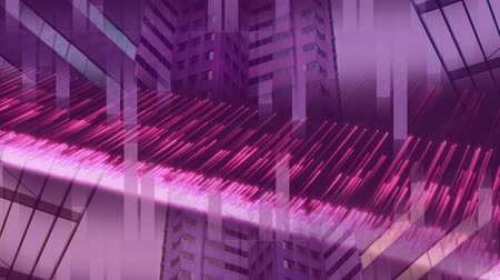 fluorescence : Digital composite of pink ray of llight in front of building