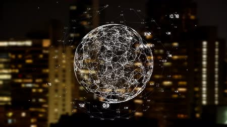 都市景観 : Digital composite of connected globe and data connections above city lights and buildings