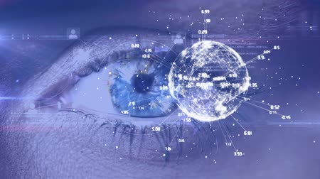 deep eyes : Digitally generated animation of turning globe with a blue eye of woman in background Stock Footage