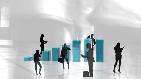složený : Digital composite of business people standing against illustration of bar graphs