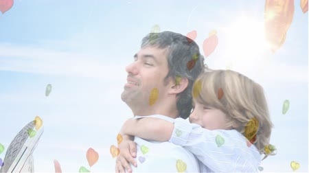 prasátko : Digital composite of father giving his daughter piggyback ride Dostupné videozáznamy
