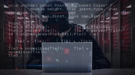intruder : Digital composite of hacker against illustration of virtual data