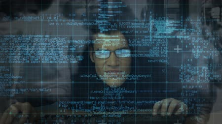 intruder : Digital composite of hacker typing on keyboard against illustration of virtual screen showing binary code and computer data moving across screen with busy city street