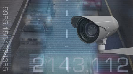 hız göstergesi : Digital composite of security camera with road traffic on background