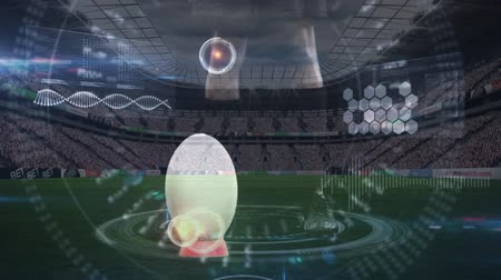 rakip : Digital composite of African American rugby player kicking the ball in a full football stadium. Stok Video
