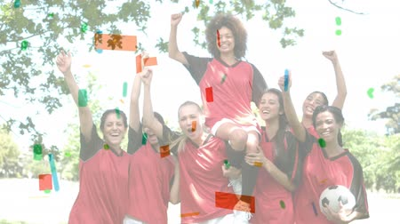 parecer : Digital composite of multi-ethnic female soccer team against coulorful confetti. They seem to have won Vídeos