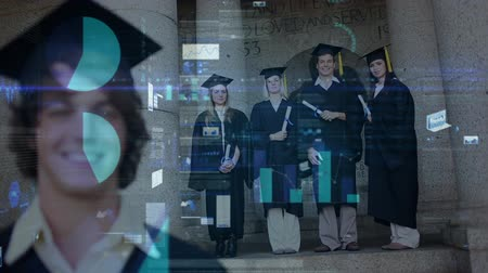 mezun : Digital composite of Caucasian graduate students standing in graduation gown with data charts animation on the foreground