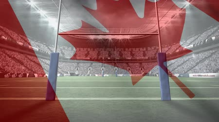 rugby ball : Digital animation of a full rugby stadium with an animated Canadian flag waving on the foreground
