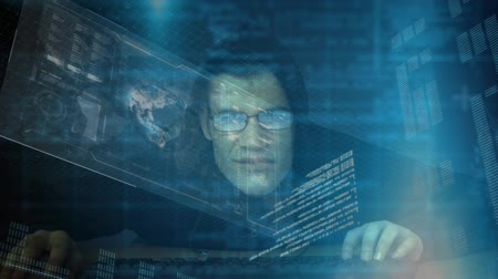 intruder : Digital composite of a Caucasian hacker against  virtual data in dark room