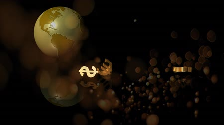 us banknotes : Digital composite of globe rotating and gold currencies falling down on the floor and bubbles blowing against black background Stock Footage