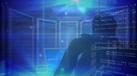 intruder : Digital composite of hacker working in a dark room with data network in the background and digital data rotating on the foreground