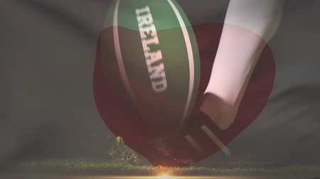 rakip : Digital composite of a rugby player kicking ball of the Irish nation with a Japanese flag waving on the background Stok Video