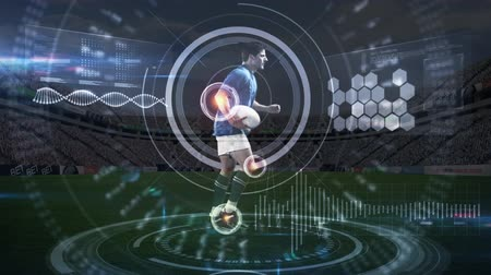 targeted : Digital animation of active Caucasian rugby player holding the ball while running in a stadium and targeted by a viewfinder