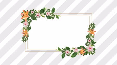 dikdörtgenler : rectangle photo frame for copy space with decorative pink and orange flower against stripes background