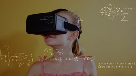 wizualizacja : Digital composite of young Caucasian girl using virtual reality headset and mathematical formulas moving on the foreground.