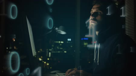 piracy : Side view of smart Caucasian male hacking on computer while zeros and ones moving on the foreground against city background at night.