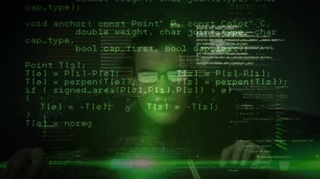 piracy : Digital composite of smart Caucasian hacker with glasses typing on the computer while binary codes moving on the foreground in dark room Stock Footage