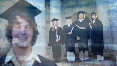 mezun : Digital composite of young Caucasian male that just graduated wearing cap and gown with group of friends in gown and gap holding diploma in the background. Binary codes move on the foreground.